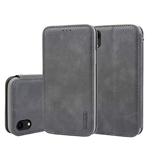 Phone Shell for iPhone Xs MAX Kickstand Flip Shell PU Leather Slim 6.5inch Retro Card Slot (ID Card,Credit Card) Full Protection Accurate Cutouts Gray Gift Girls Boys