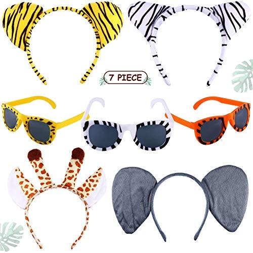 4 Pieces Animal Ears Headbands Jungle Animal Party Headband Zebra Giraffe Ears Headbands and 3 Pairs Animal Print Sunglasses for Birthday Party ()