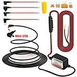 MiniUSB Hardwire Kit with Mini/LP Mini/ATO/Micro2 Fuse, 5V/2A Output, Battery Drain Protection System, 15ft Length Cord for Dash Cameras