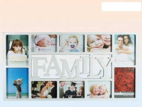 Fotorahmen Collage Weiß 10 Fotos - 6 Fotos 10x15 und 4 Fotos 13x18 cm(1631) Maggiore Family - Gesamtgröße 37x73x1,2 cm-Foto Galerie Bilder Rahmen Collection Fotogalerie Portraitrahmen Bilderrahmen Photorahmen