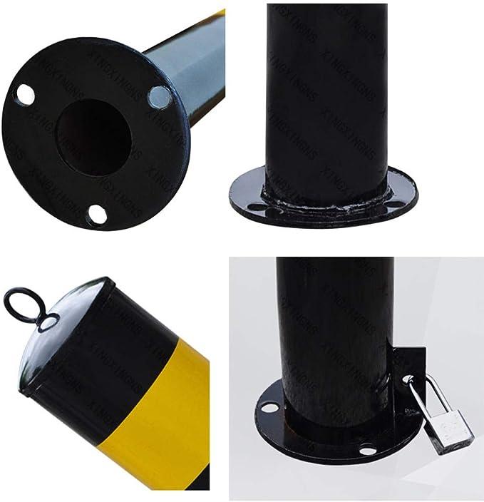 XINGXINGNS Bolardo de Seguridad para autom/óviles Bolardos met/álicos de Servicio Pesado,interceptores de estacionamiento en Carril de Acero con Base clavada 13.5x75 cm
