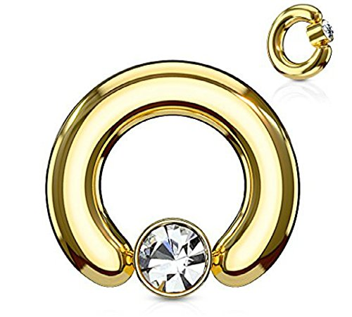 Inspiration Dezigns 10G 12mm Gold Large Gauge Captive 5mm Bead Ring Clear Gem