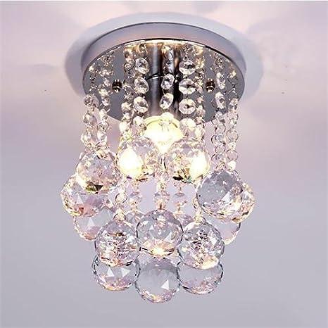 Goeco Lámpara del Techo Candelabro de cristal Luces de Techo LED inoxidable para la sala de estar, dormitorio, pasillo (diámetro 15.9cm, altura ...