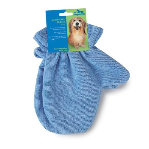 UGroom Microfiber Pet Drying Gloves, Blue, 2-Pack, My Pet Supplies