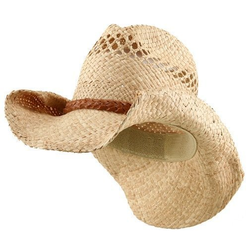 Raffia Hat with Band-Light Brown Band (Raffia Western Straw)
