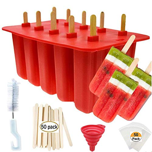 (Popsicle Molds Shape Maker,10pcs Homemade ICE Pop Molds Shapes Food Grade Silicone BPA-Free, with 50 Popsicle Sticks 50 Popsicle Bags Silicone Funnel,Cleaning Brush(Red))