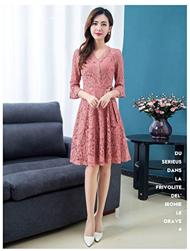 3 Pink cotyledon Neck 4 Solid v Dress Color Lace Sleeve Dresses Women`s OfCqx5fw4