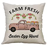 Easter Day Pillow Covers Easter Theme Cartoon Printing Square Pillow Case Cotton Linen Cushion Cover 18x18 inch for Holiday Gift Home Decor (B)