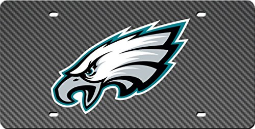 Philadelphia Eagles CARBON FIBER DESIGN Deluxe Laser Cut Acrylic Inlaid Mirrored License Plate Tag Football ()