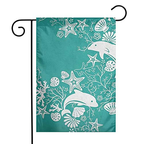 Huayuanqiqiqiqi Dolphins Flowers Sea Home Sweet Home Garden Flag Vertical Double Sided Spring Summer Yard Outdoor Decorative 12 X 18 ()