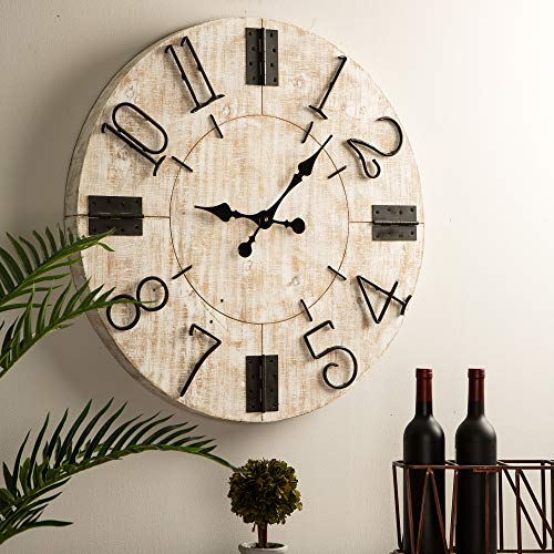 Glitzhome 28 Oversized Decorative Wall Clock Large Round Wooden Farmhouse Clocks for Living Room