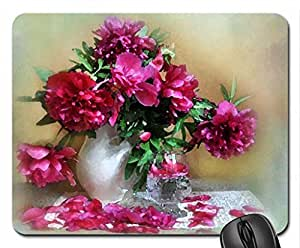 Pink Peonies Mouse Pad, Mousepad (Flowers Mouse Pad, Watercolor style)