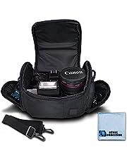 Medium Soft Padded Camera Equipment Bag/Case for Nikon, Canon, Sony, Pentax, Olympus Panasonic, Samsung & Many More + eCostConnection Microfiber Cloth