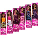 """African American Fashion Dolls, 11"""". Set of 6 with different clothes. Introduce them to your Barbie collection. Great favors for Birthday Party gifts BONUS (1) MERMAID DOLL"""