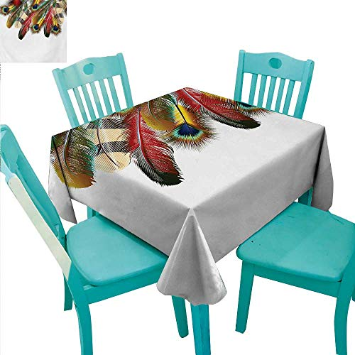 WilliamsDecor Peacock Decorative Textured Fabric Tablecloth Mystical Colorful Peacock Feathers Vibrant Universal Link Icons Bohemian Theme Great for Buffet Table 60