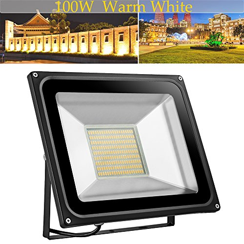 (LED Flood Light,100W 10000lm 2800-3500K Warm White,IP65 Waterproof,Aluminium Strahler 110V Outdoor Super Bright Security Lights,Stadium Lights for)