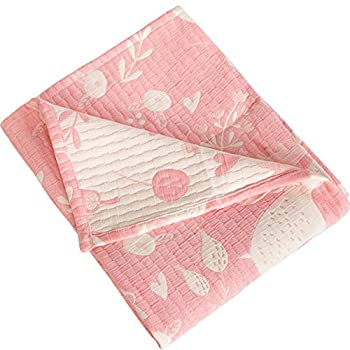 NTBAY 3 Layer Toddler Blanket, Muslin Cotton Jacquard Mattress Blankets, Light-weight Thermal Child Blanket, Tremendous Comfortable and Heat Crib Blanket for All Seasons, Ornament Reward, 30″x 40″, Pink Owl