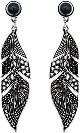 Maying Punk Vintage Antique Silver Tone Feather Long Stud Earrings Party Black Earring