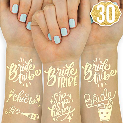 xo, Fetti 30 Bride Tribe Metallic Tattoos | Bachelorette Party Decorations, Bridesmaid Favor + Bride to Be -