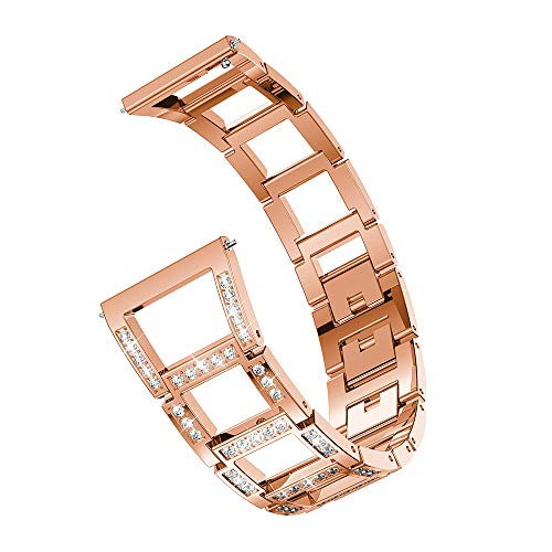 Price comparison product image Shaoshao Samsung Galaxy Watch Replacement Metal Crystal Watch Strap Wrist Band (46mm) (Rose Gold)