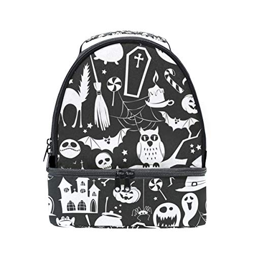Lunch Box Halloween Pumpkin Bat Owl Insulated Lunch Bag Large Cooler Tote Bag for Adult,Men,Women,Kids