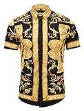 Pizoff Mens Luxury Short Sleeve Gold Florlal Button Down Dress Shirt AL003-41-XL