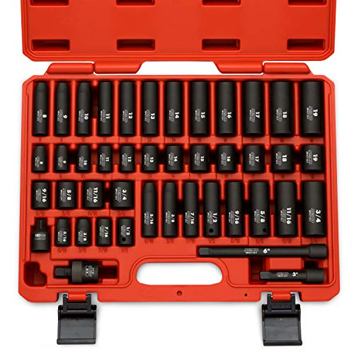 Neiko 02440A 3/8 Inch Drive Impact Socket Set, CR-V Steel, SAE & Metric | 44-Piece Assortment