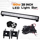 Spead Vmall 28 inch 180W Spot Flood Combo 6500K Led Light Bar With 1 Lead Wiring Harness Kit IP67 Waterproof Jeep Driving Lamp for Off-road SUV Boat Truck Car ATV SUV 4X4