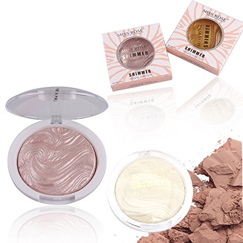 Hot 3D High Powder Highlighter Powder Professional Makeup Shimmer Highlighter Powder Palette Bronze Highlighter Powder Palette High Shimmer kit for Party, Home 6 Colors ()