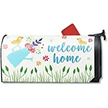 Juvale Magnetic Mailbox Cover - Spring Themed Welcome Home Mailbox Wrap with Decorative Birds and Flowers Design, Includes Adhesive Numbers, Standard Sized, 17.25 x 20.75 Inches