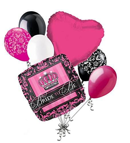 7 pc Black & Hot Pink Damask Bride to Be Balloon Bouquet Wedding Bridal Shower -