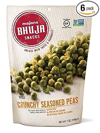 Majans Bhuja Gluten Free Snack Mix, Non-GMO | No Preservatives | Vegetarian Friendly | No Artificial Colors or Flavors, Crunchy Seasoned Peas, 7 Ounce ...
