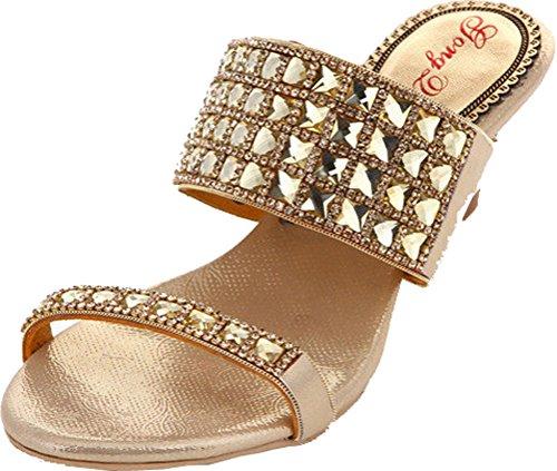 Party Womens Slip Leather Wedge Bridesmaid Sexy Bride Sandals Open Gold Glaring On Wedding Toe Rhinestone ArTqAxE