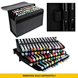 Universal Black 80 Slot Premium Heavy-Duty Nylon Marker Storage Case with Shoulder Strap - Works with Lipstick, Prismacolor, Copic, Sharpie, and more (Black)