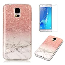For Samsung Galaxy S5 / S5 Neo Marble Case with Screen Protector ,OYIME Creative Glossy Brick red & White Marble Pattern Design Protective Bumper Soft Silicone Slim Thin Rubber Luxury Shockproof Cover