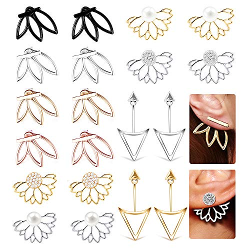 10 Pairs Ear Jacket Stud Lotus Flower Earrings for Women and Girls Set for Sansitive Ears Simple Chic ()