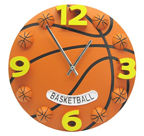 "Valentoria 12"" 3D Basketball Fooball Wall Clock Bedroom Livingroom Home Decor Soccer WallClock Alarm Clock Birthday Chritmas Gifts Present for Father Son Kids Boys Baby Child NBA Basketball Fans"