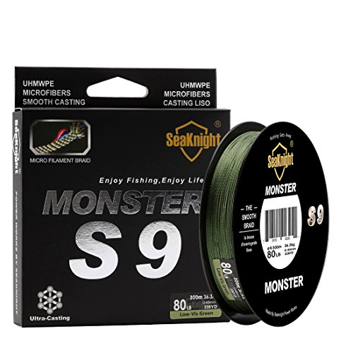 SeaKnight Monster S9 9 Strands PE Braided Fishing Line Super Strong 300M/327Yds Long Casting Best Fishing Line