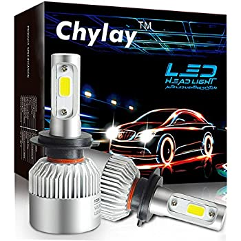 Chylay H7 LED Headlight Bulbs For Car Headlamp High Low beam & Fog Light, 72W 8000LM 6500K White Aluminum Housing & Turbo Cooling -2 Yr Warranty
