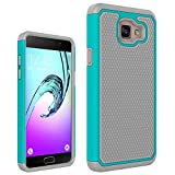 Samsung Galaxy A5 2017 Rugged Impact Heavy Duty (Drop Protection) Dual Layer Silicone Shock Proof Hard Case Cover Skin - Teal / Gray