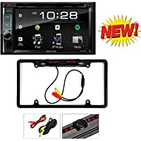Kenwood eXcelon DDX395 6.2 In-Dash Double Din CD/DVD/MP3 Receiver, Dual Camera Inputs, SiriusXM Ready Cache Night Vision 170° Viewing Angle Universal Car License Plate Frame Mount Rear View Camera