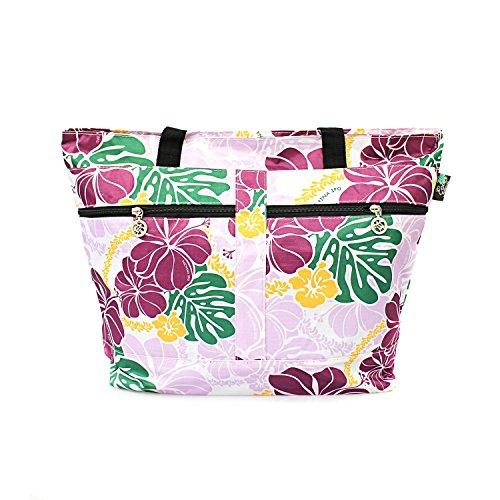(Hawaiian Print Double Zipper Tote Bag in Hibiscus Floral All Over in)