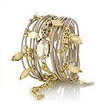 Leather Wrap Bracelet Turn into Necklace,Bronze with Swarovski Crystal 24 Karat Gold Pendants Handmade by SEA-Smadar
