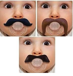 The Mustachifier Full Monty: Gentleman Mustache Pacifier, Cowboy Mustache Pacifier, and Ladies Man Mustache Pacifier