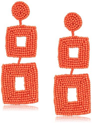 Kenneth Jay Lane Coral Seedbead Double Square Drop Earrings