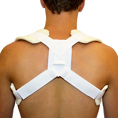 BraceAbility Figure 8 Clavicle Brace & Posture Support Strap - Large (Round Covered Buckle Belt)