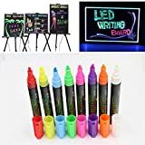 Liquid Chalk Pens,SAYEEC 8 Pack 6mm Nib Assorted Colors Liquild Chalk Markers Fluorescent Highlighters for POP Art/Ad Drawing/LED Glass Board/ Blackboard/Whiteboard/Windows