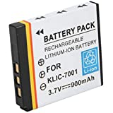 Amsahr S-KLIC7001 Digital Replacement Battery Plus Travel Charger for Kodak KLIC-7002, V530 - Includes Lens Accessories Pouch (Gray)