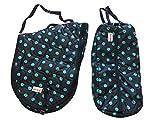 AJ Tack English Horse Saddle Carrier Bridle Bag Set All Purpose Saddle Turquoise Dots