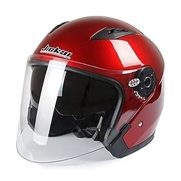 Casco Motocicleta Cara Abierta Moto Racing Cascos De Moto De La Vendimia con Doble Lente Jiekai